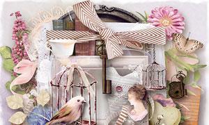 丝带蝴蝶花朵边框等欧美剪贴素材