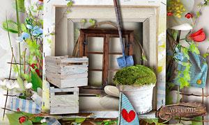 心形窗户铁铲植物等欧美剪贴素材