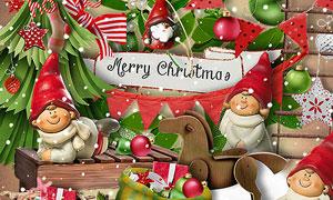 木马吊球等圣诞主题欧美剪贴素材