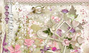 丝带花朵边框装饰等欧美剪贴素材