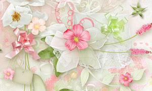 花朵绿叶花边心形等欧美剪贴素材