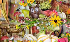 蝴蝶雨伞花朵蘑菇等欧美剪贴素材