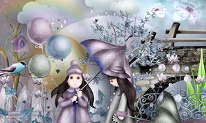 花朵礼物雨伞青蛙等欧美剪贴素材
