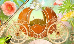 南瓜车与边框花朵等欧美剪贴素材