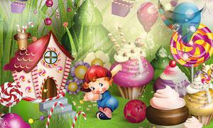 糖果屋与丝带气球等欧美剪贴素材