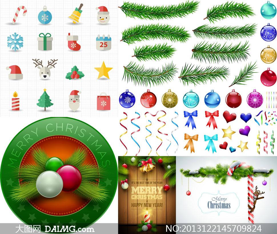 圣诞吊球松树枝蝴蝶结等矢量素材