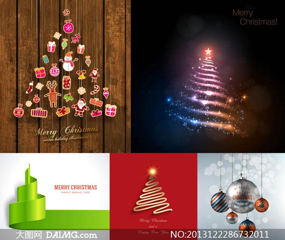 圣诞球圣诞树图案圣诞节矢量素材