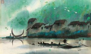 早春下的江南水乡设计图片素材