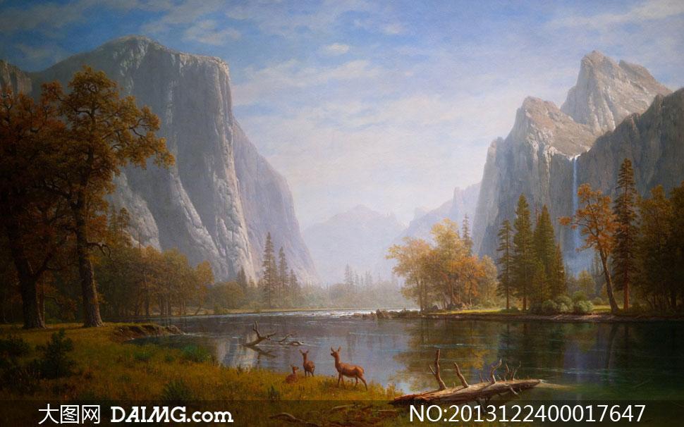 关键词: 山水画山水树林原始风景河水湖水湖泊群鹿麋鹿树木原始山水