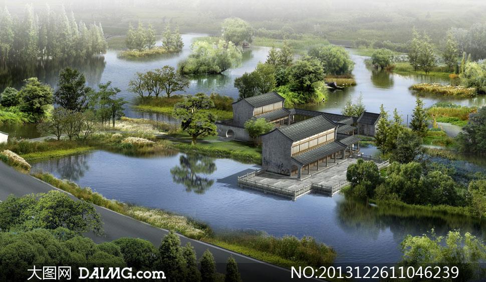 园林景观设计建筑物树木绿化鸟瞰俯瞰效果图渲染图