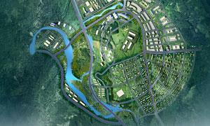 楼盘建筑物航拍鸟瞰图设计高清图片