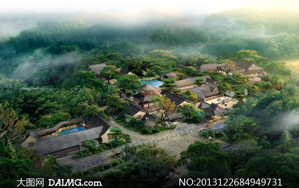 绿树掩映中的房子唯美景观高清图片