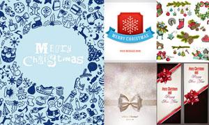 圣诞节卡片与蝴蝶结袜子矢量素材