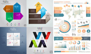 数据统计图与信息图等设计矢量素材