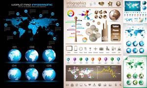 地球地图与时尚信息图表等矢量素材