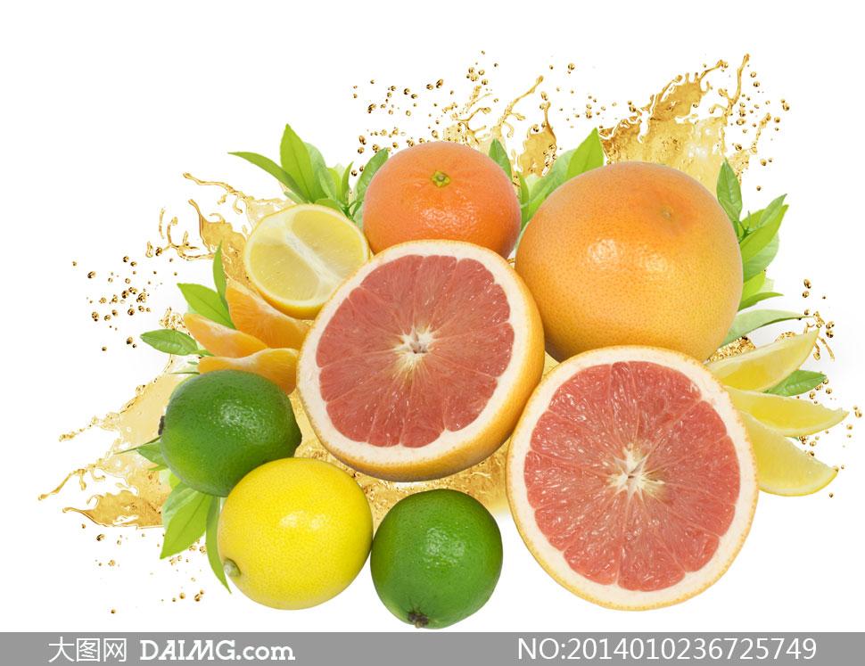 红瓤柚子与柠檬橙子等摄影高清图片