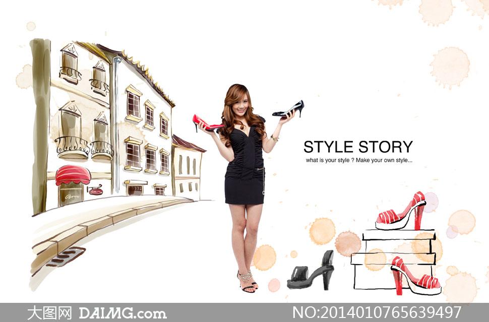 韩国素材tua美女人物女性女人购物双手短裙鞋子高跟