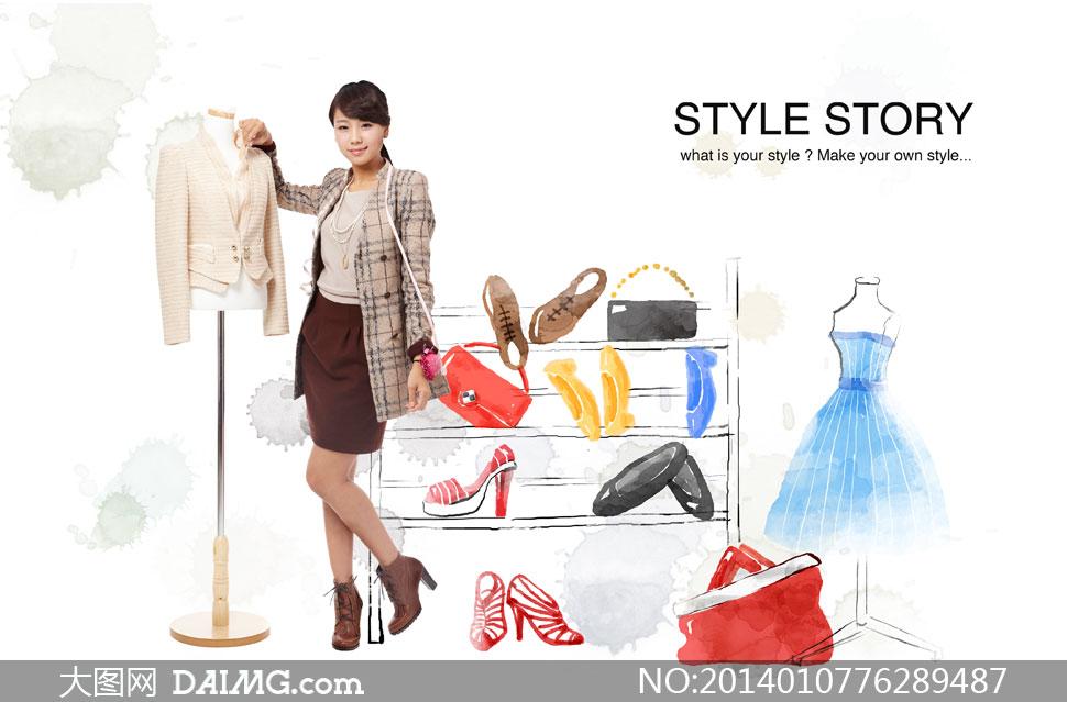购物美女与衣架鞋子等psd分层素材