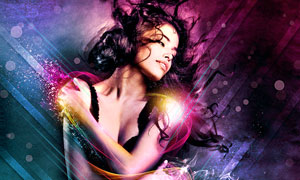 绚丽光线的美女海报PS教程素材