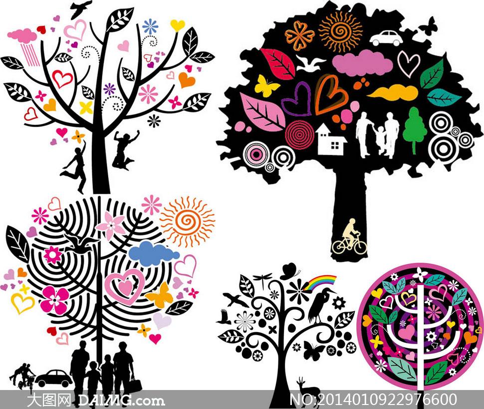 剪影元素与树木等主题创意矢量素材