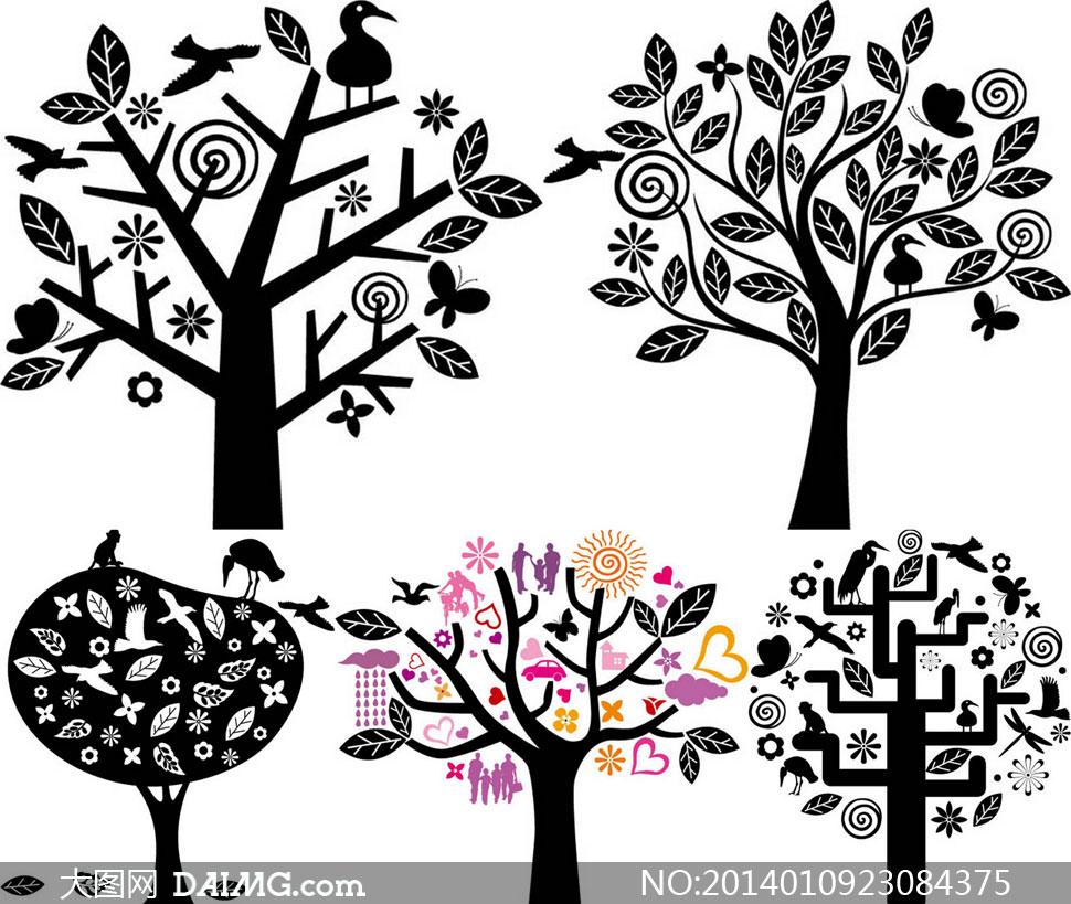 压缩包已封装预览图片; 关键词: 矢量素材矢量图tua创意设计树木剪影