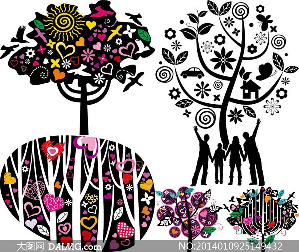 矢量素材矢量图tua创意设计树木剪影黑色飞鸟小鸟