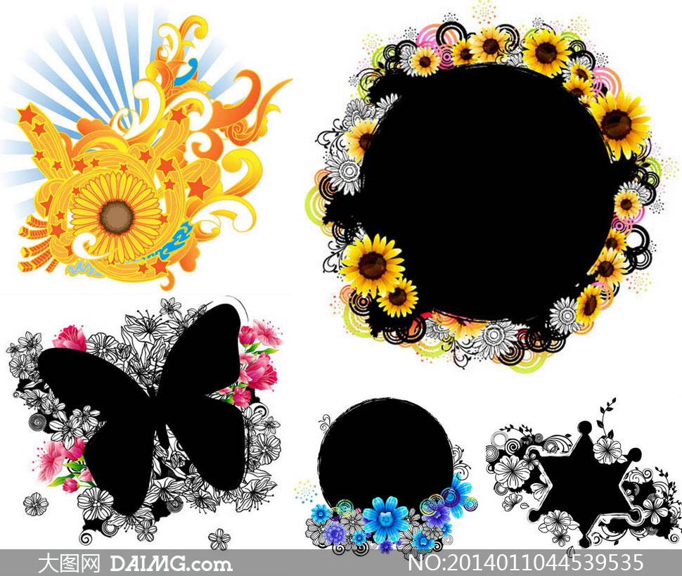 向日葵装饰边框等创意设计矢量素材图片