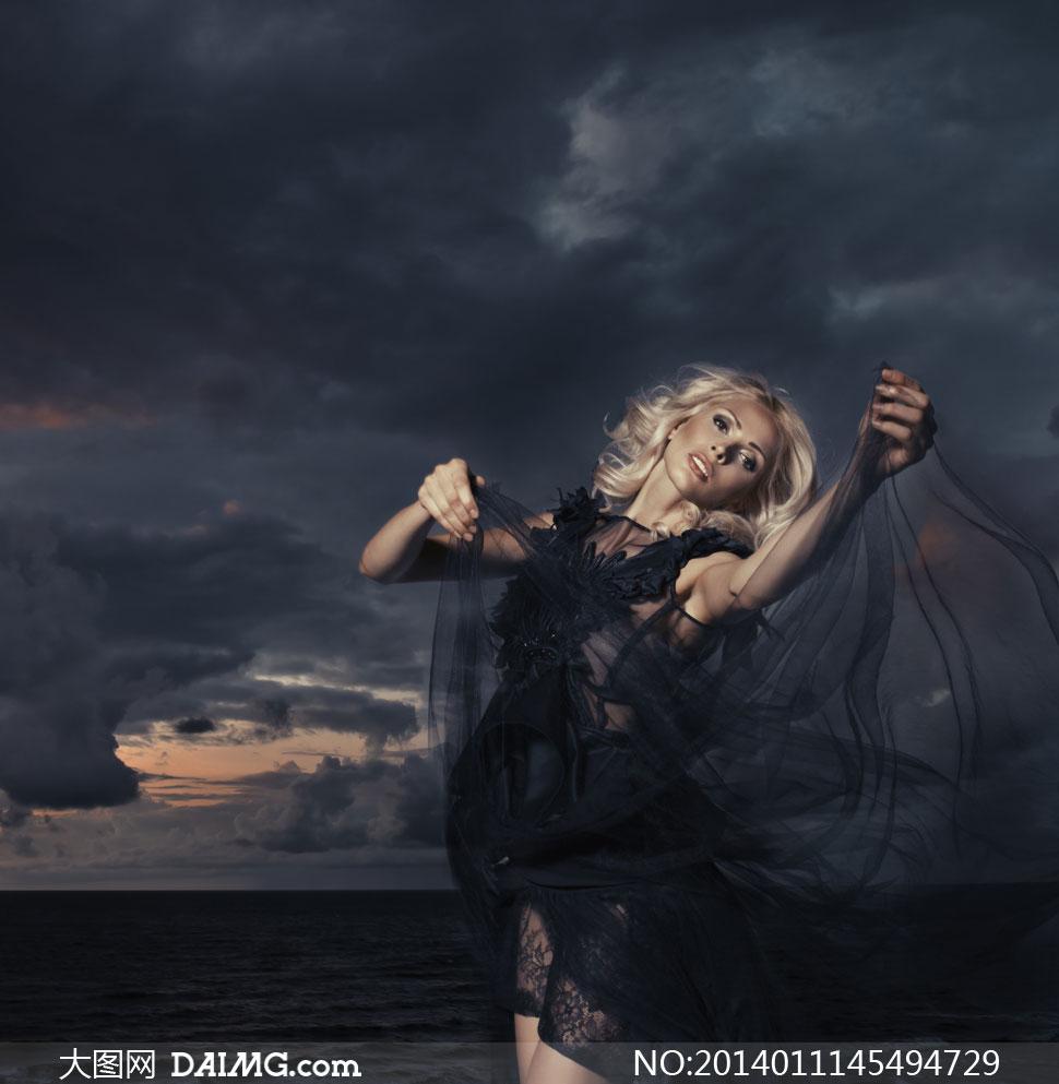 乌云笼罩下的蕾丝美女摄影高清图片 大图网设