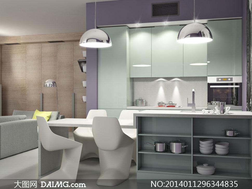 欧式厨房里的吊灯餐具摄影高清图片