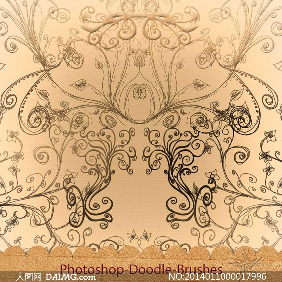 实用的手绘涂鸦花纹笔刷