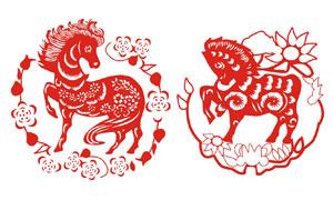 中国风传统剪纸马设计矢量素材