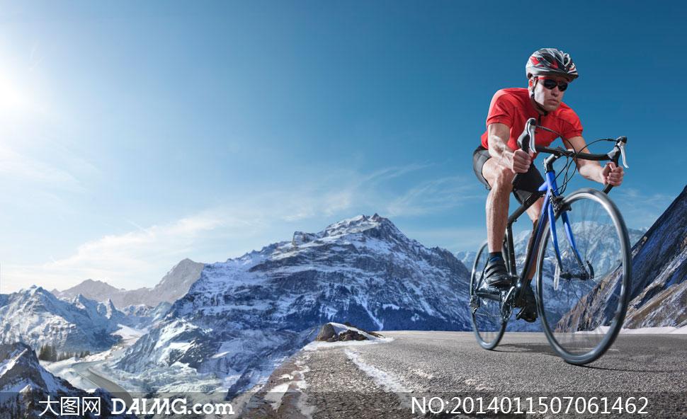 高清摄影大图图片素材体育运动自行车手头盔路面公路道路大山雪山