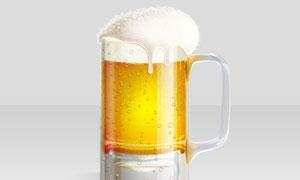 凉爽的啤酒和啤酒杯PS教程素材