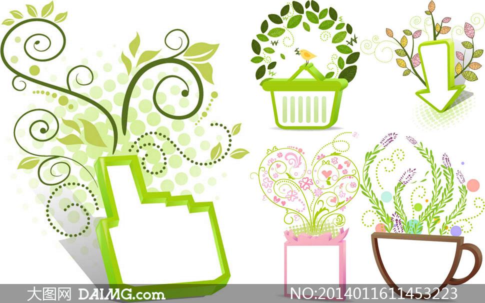 矢量图tua创意设计花纹绿叶叶子树叶篮子小鸟手势边框箭头圆点虚线