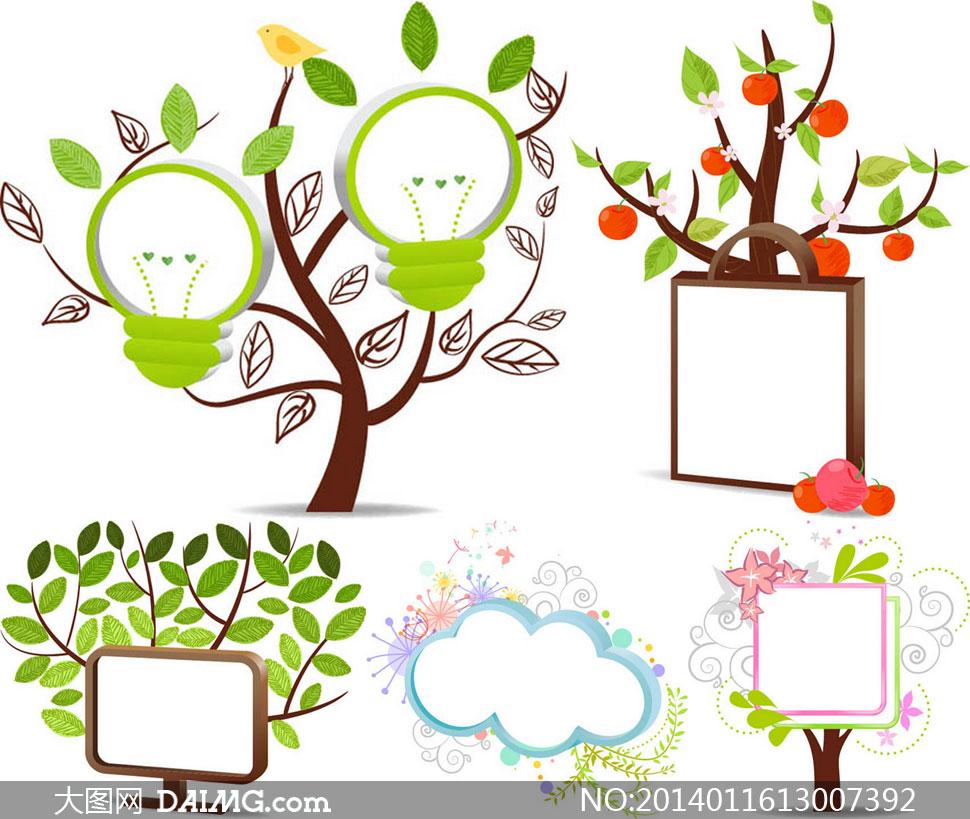 边框树木与节能灯创意设计矢量素材图片
