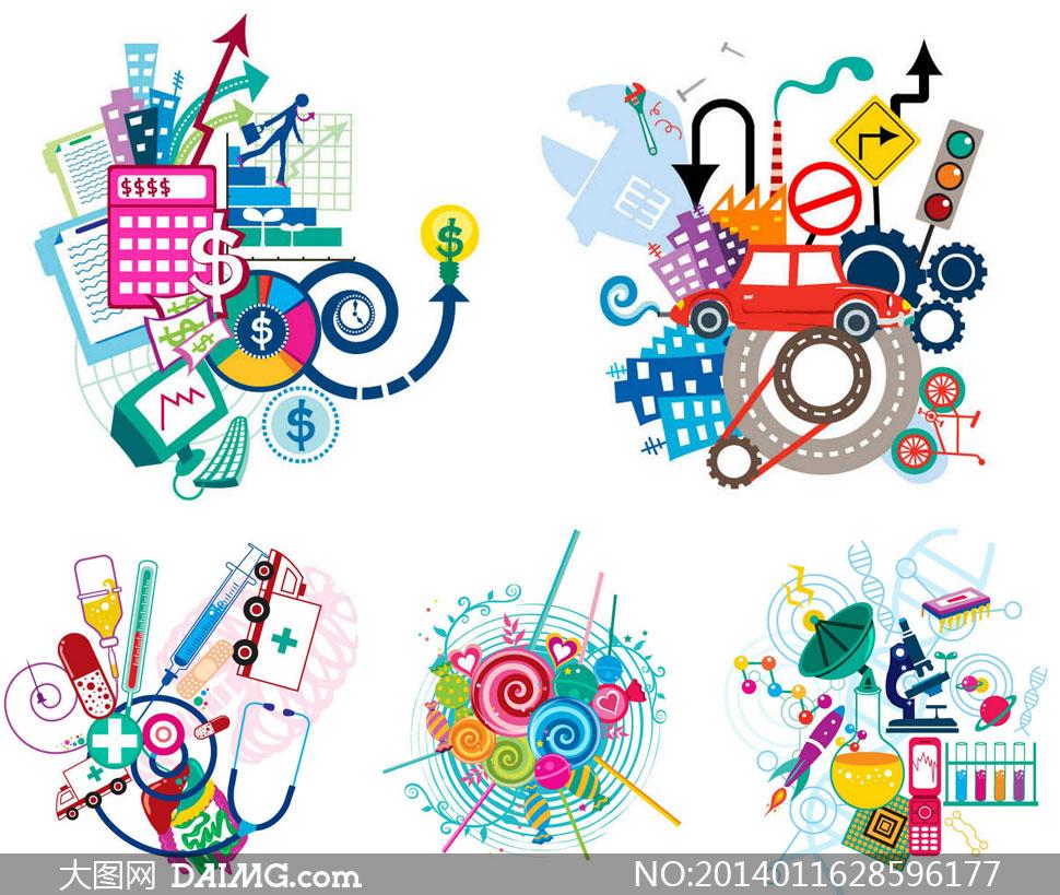 棒棒糖与卫生医疗创意设计矢量素材图片