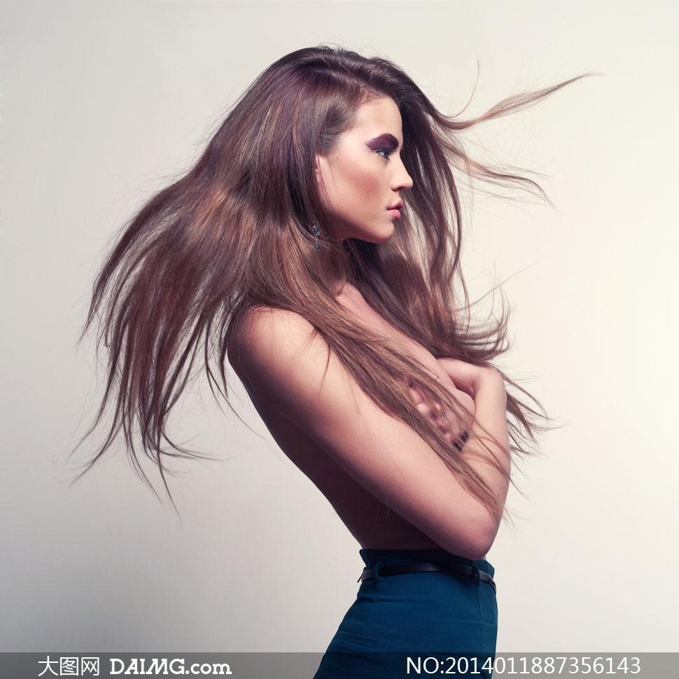 美女女人女性模特性感侧面秀发长发美妆妆容眼妆彩妆