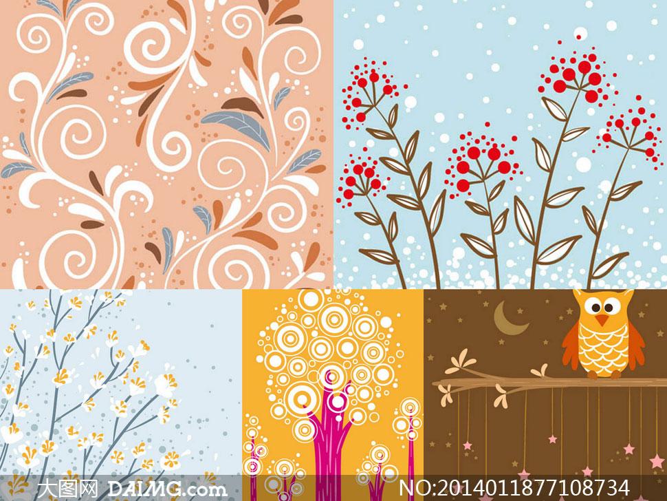 植物花纹树木插画图案创意矢量素材