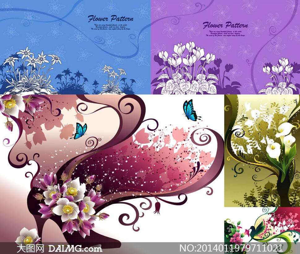 手绘花卉植物与高跟鞋创意矢量素材