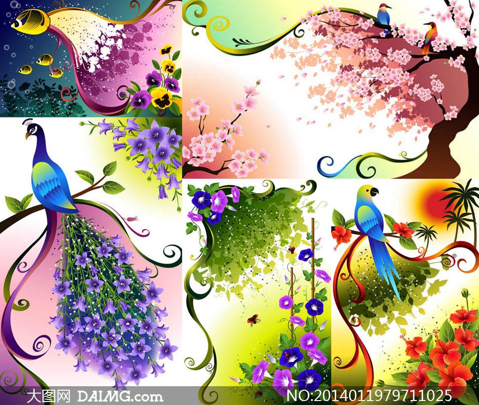 孔雀鹦鹉与花卉植物等创意矢量素材
