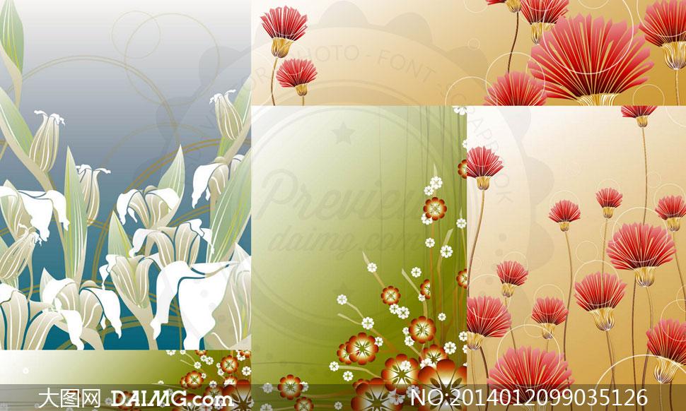 时尚花朵图案装饰创意设计矢量素材图片