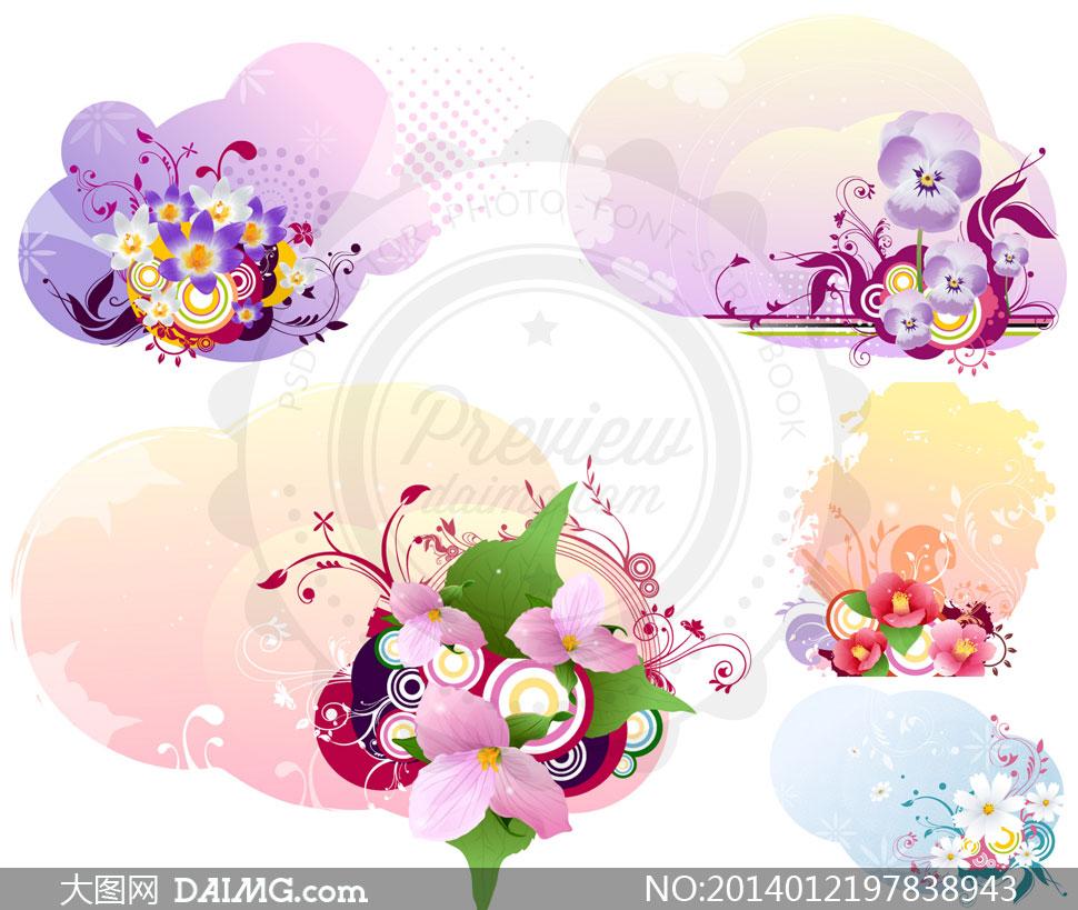 鲜花圆圈与花纹装饰图案等矢量素材