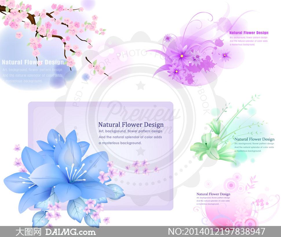 梅花树枝与鲜艳花朵装饰等矢量素材