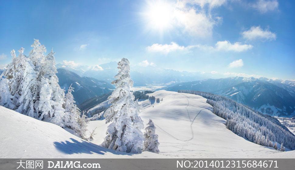 蓝天白云阳光雪山风光摄影高清图片