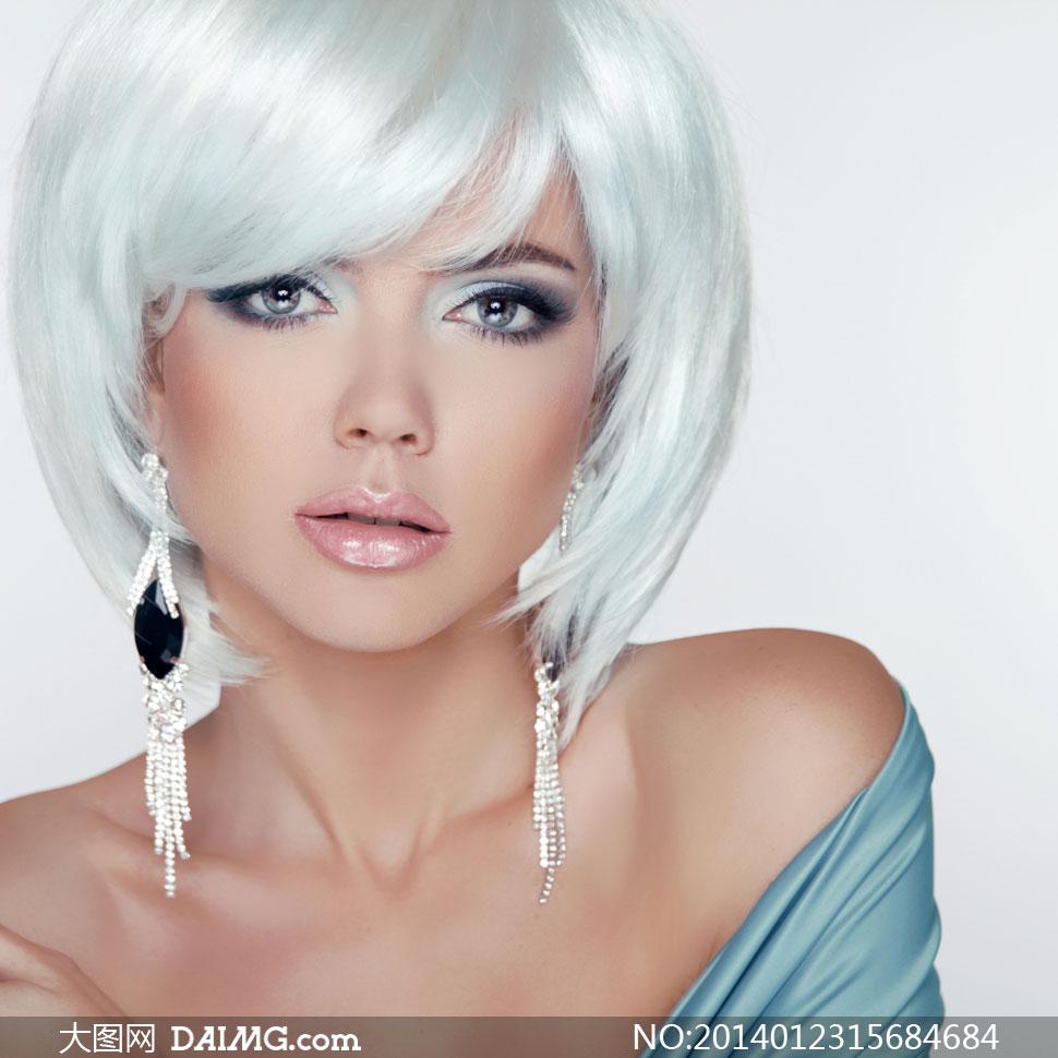短发眼妆美女模特人物摄影高清图片