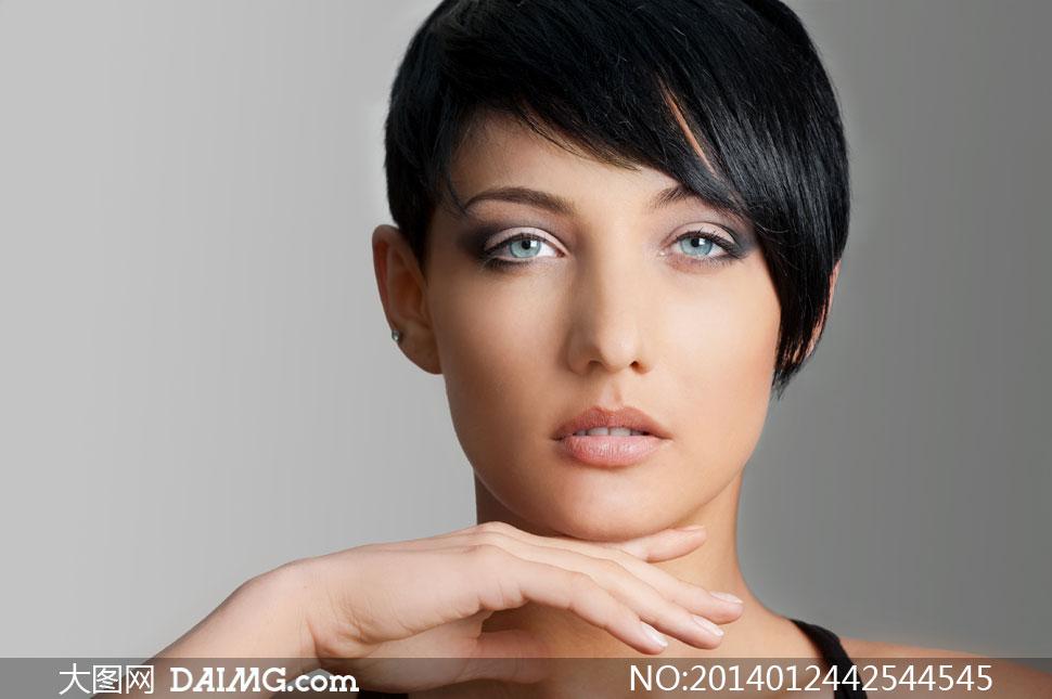 黑色短发美女模特人物摄影高清图片