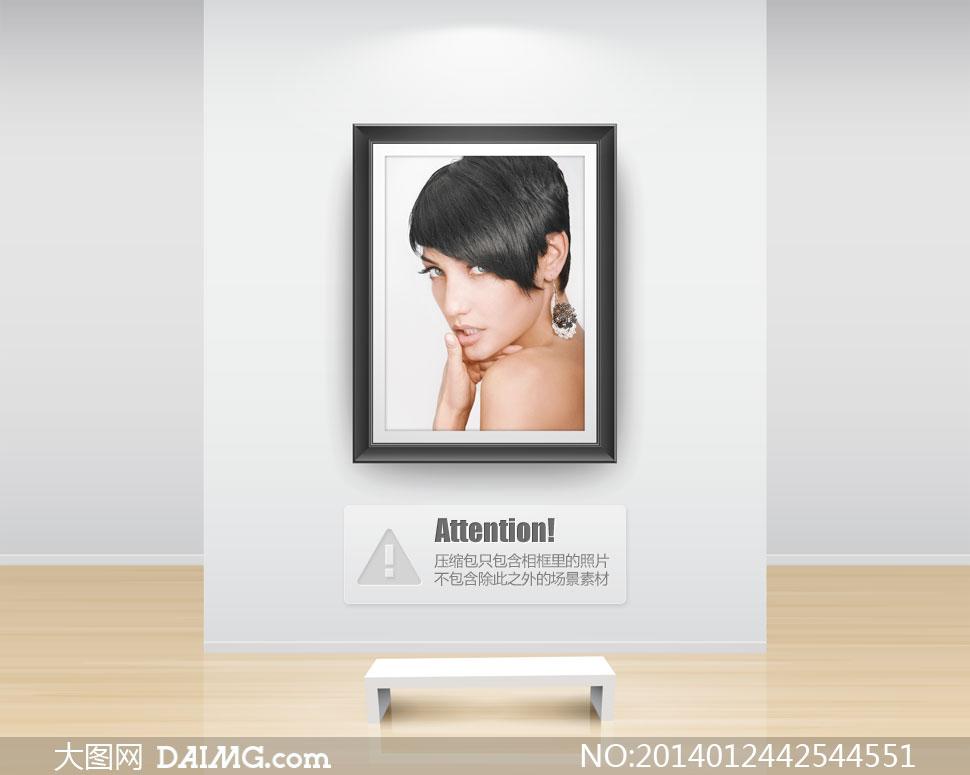 戴耳环的黑色短发美女摄影高清图片