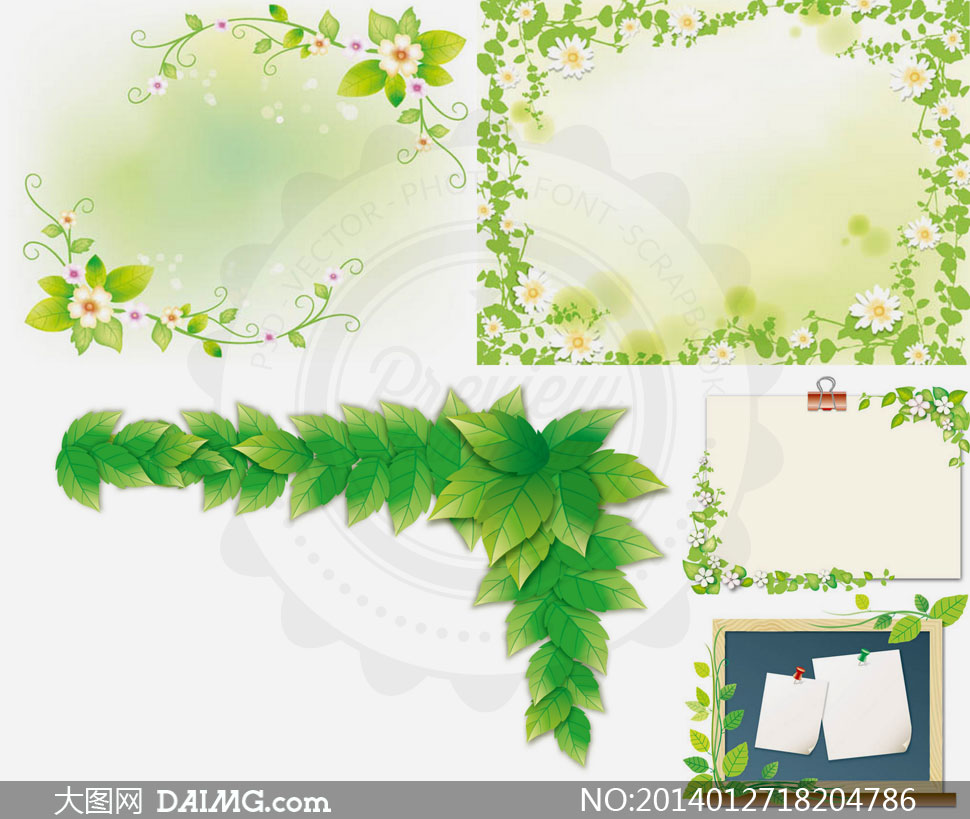 鲜花藤蔓植物装饰元素设计矢量素材