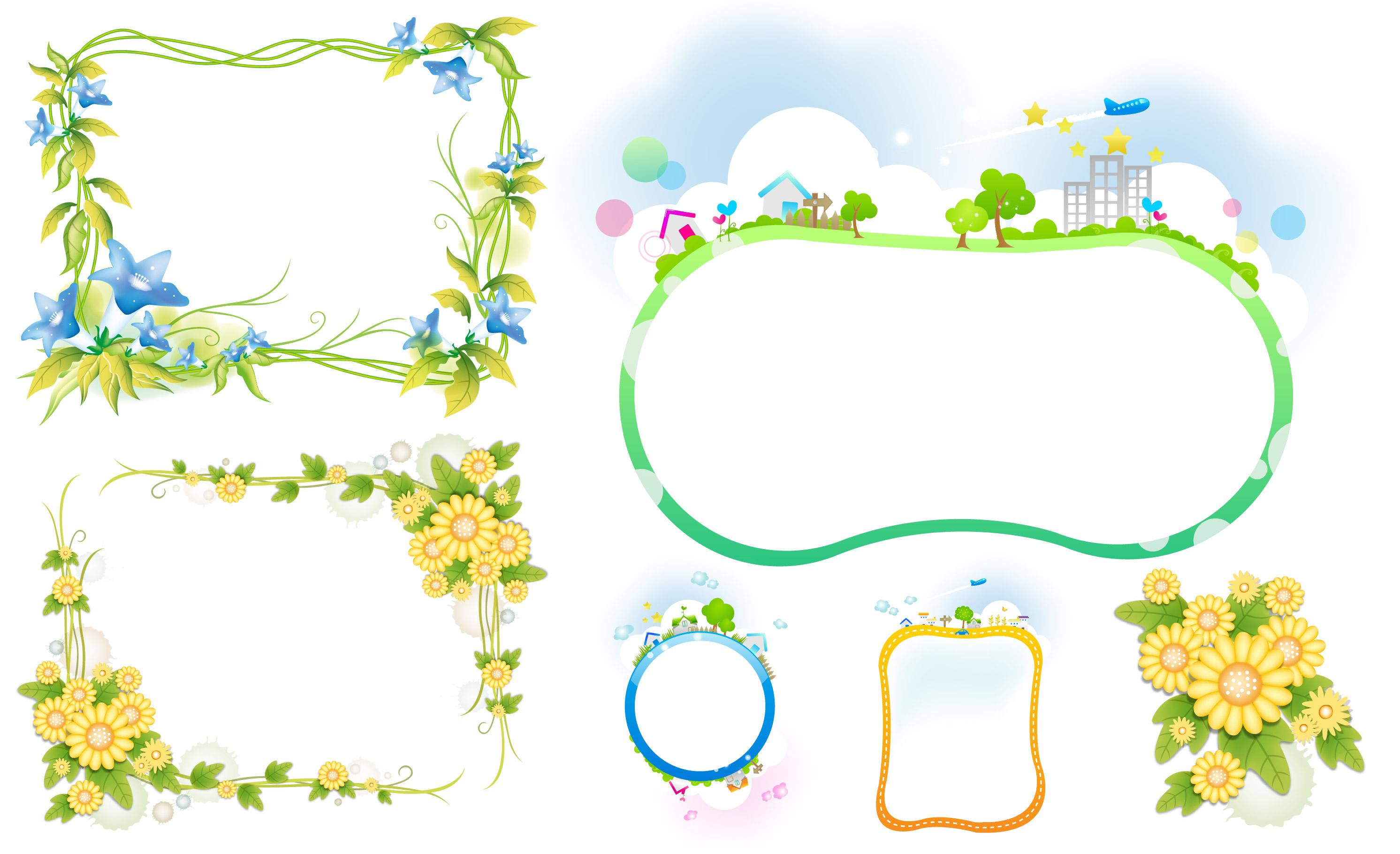 花朵底纹背景边框psd分层素材 大图网设计素材下载