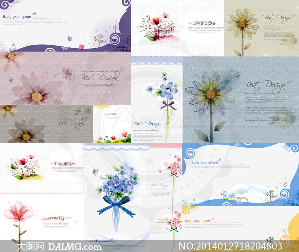 花朵与树木房子小鸟等插画矢量素材